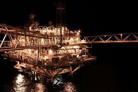 stock photo of production  - oil and gas construction in offshore for production - JPG