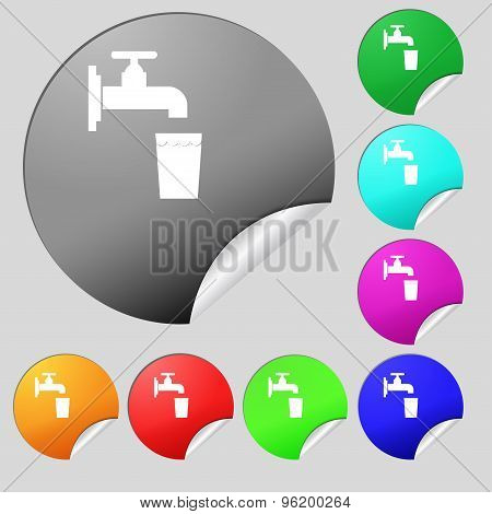 Faucet, Glass, Water Icon Sign. Set Of Eight Multi Colored Round Buttons, Stickers. Vector