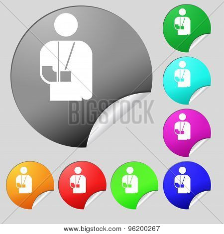 Broken Arm, Disability Icon Sign. Set Of Eight Multi Colored Round Buttons, Stickers. Vector
