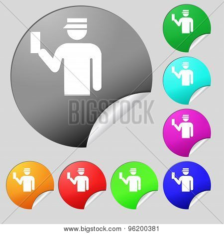 Inspector Icon Sign. Set Of Eight Multi Colored Round Buttons, Stickers. Vector