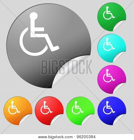 Disabled Icon Sign. Set Of Eight Multi Colored Round Buttons, Stickers. Vector