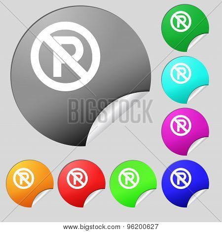 No Parking Icon Sign. Set Of Eight Multi Colored Round Buttons, Stickers. Vector