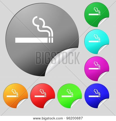 Cigarette Smoke Icon Sign. Set Of Eight Multi Colored Round Buttons, Stickers. Vector