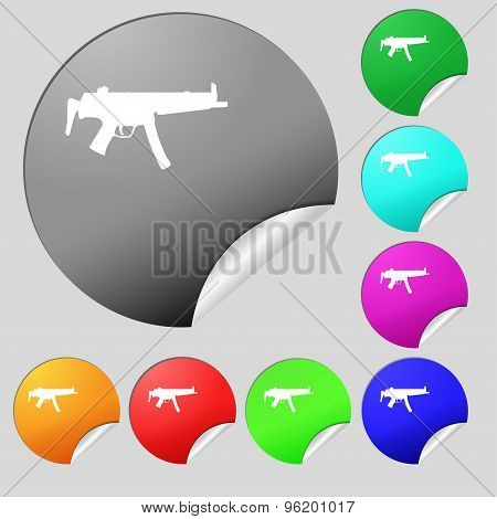 Machine Gun Icon Sign. Set Of Eight Multi Colored Round Buttons, Stickers. Vector