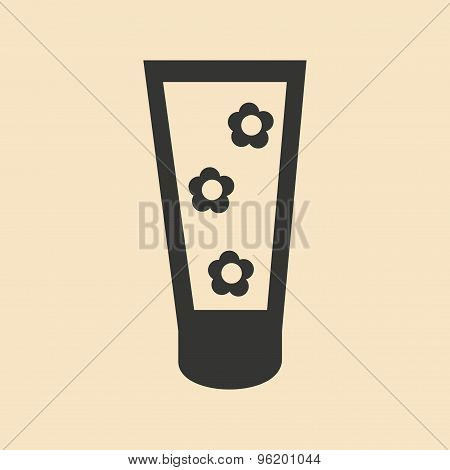Flat in black and white mobile application toothpaste