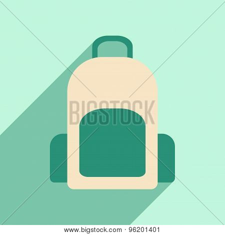 Flat with shadow icon and mobile application backpack