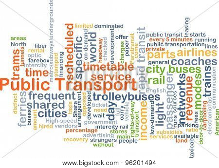 Background concept wordcloud illustration of public transport