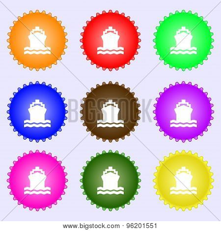 Ship Icon Sign. A Set Of Nine Different Colored Labels. Vector
