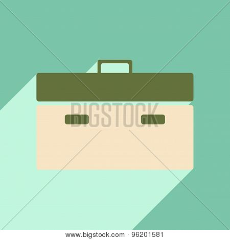 Flat with shadow icon and mobile application briefcase