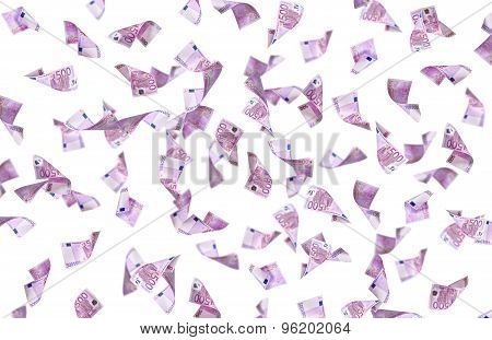 Flying Many Euro Banknote
