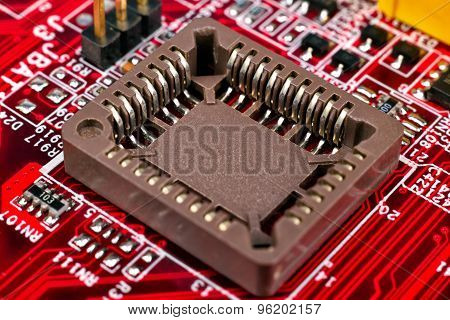 Red Circuit Board With Processors
