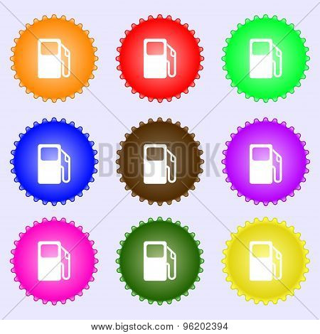 Auto Gas Station Icon Sign. A Set Of Nine Different Colored Labels. Vector