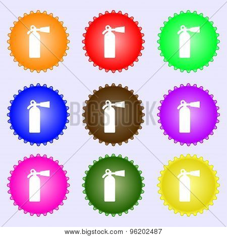 Extinguisher Icon Sign. A Set Of Nine Different Colored Labels. Vector