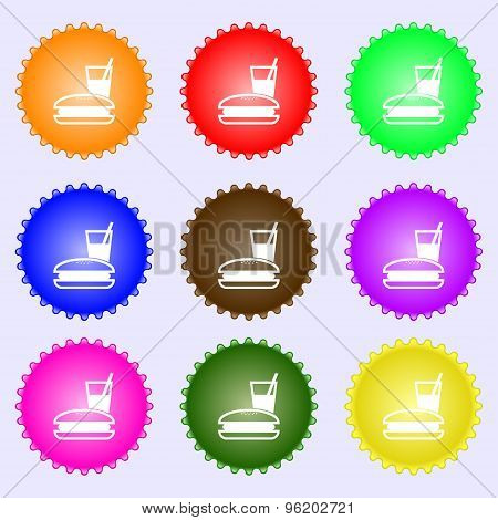 Lunch Box Icon Sign. A Set Of Nine Different Colored Labels. Vector