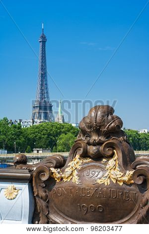 Pont Alexandre Iii Bridge In Central Paris And Eiffel Tower In The Distance, France