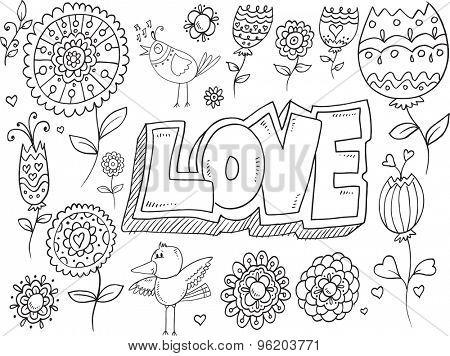 Doodle Flowers Bird Vector Set