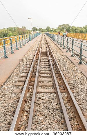 Victoria Fall, Zambia - April 9, 2015: Railway track on the bridge at Victoria fall at the boarder crossing between Zimbabwe and Zambia