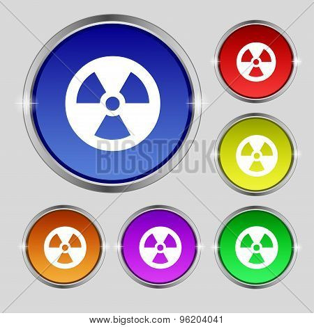 Radiation Icon Sign. Round Symbol On Bright Colourful Buttons. Vector