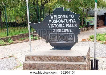 Welcome Sign At Victoria Falls, Zimbabwe