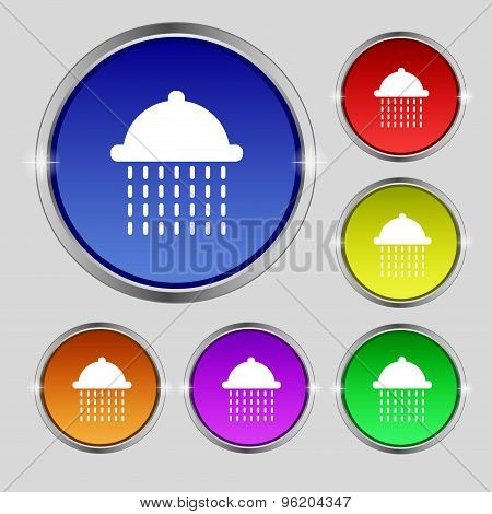 Shower Icon Sign. Round Symbol On Bright Colourful Buttons. Vector