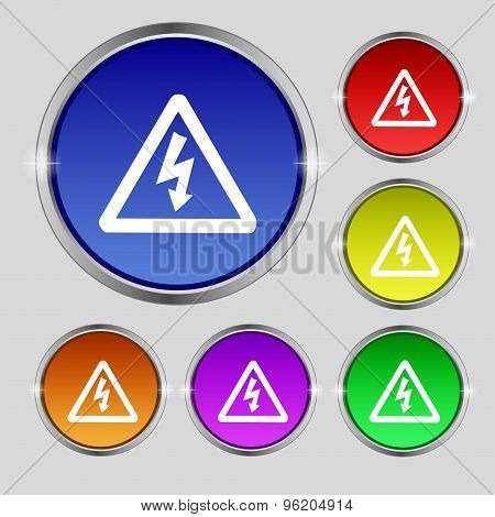Voltage Icon Sign. Round Symbol On Bright Colourful Buttons. Vector