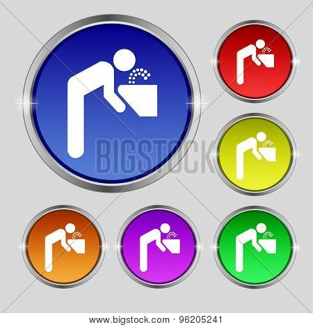 Drinking Fountain Icon Sign. Round Symbol On Bright Colourful Buttons. Vector