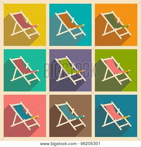 Flat with shadow concept and mobile application deckchair