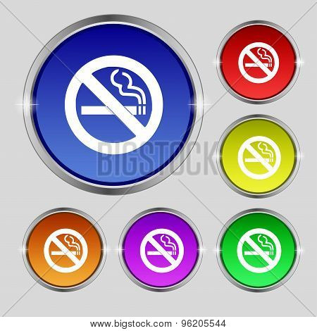 No Smoking Icon Sign. Round Symbol On Bright Colourful Buttons. Vector