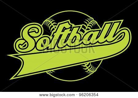 Softball Design With Banner