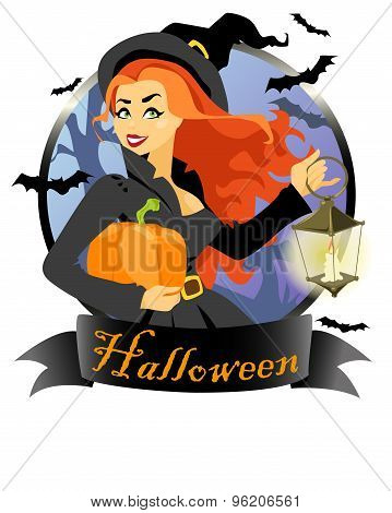 Witch with pumpkin and lantern.