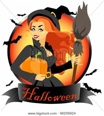 Witch with pumpkin and broomstick.