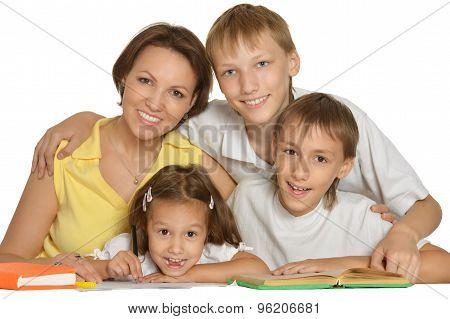 Mother help children do their homework