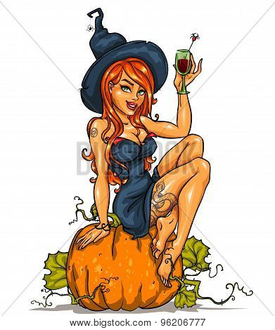 Witch with pumpkin cocktail, isolated
