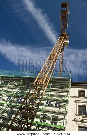 Hoisting Crane On The Project Site
