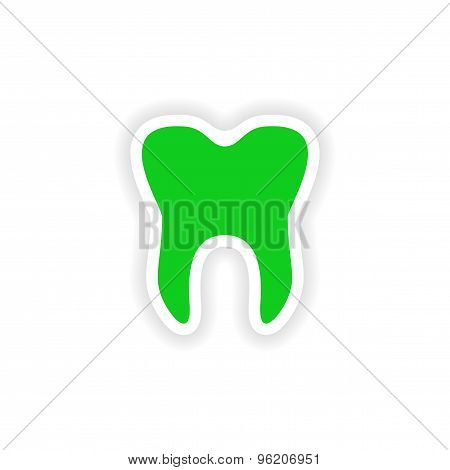 icon sticker realistic design on paper teeth