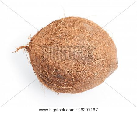 Whole coconut isolated on white background