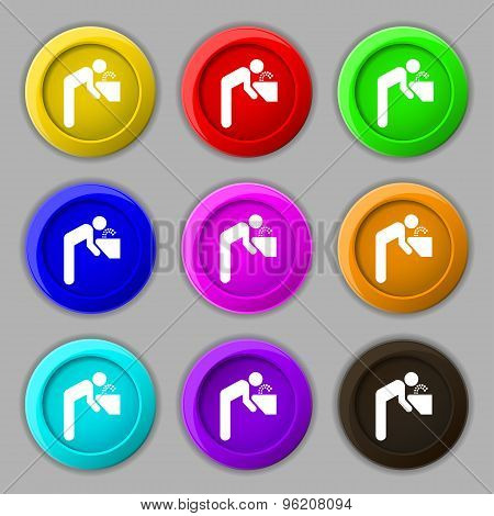 Drinking Fountain Icon Sign. Symbol On Nine Round Colourful Buttons. Vector