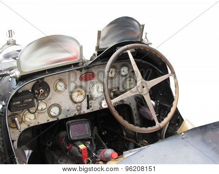 Dashboard And Steering Wheel In Interior Of Italian Classic Sport Car Isolated On White Background