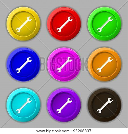 Wrench Icon Sign. Symbol On Nine Round Colourful Buttons. Vector