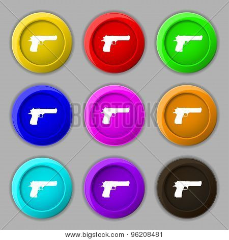 Gun Icon Sign. Symbol On Nine Round Colourful Buttons. Vector