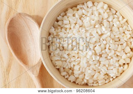 White Grated Corn Kernels In  Bowl