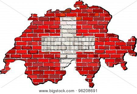 Switzerland Map On A Brick Wall