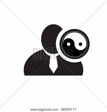 Black Man Silhouette Icon With Yin Yang Symbol In An Information Circle, Flat Design Icon For Forums