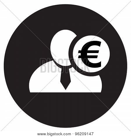White Man Silhouette Icon With Euro Symbol In Black Circle, Flat Design Icon For Forums Or Web