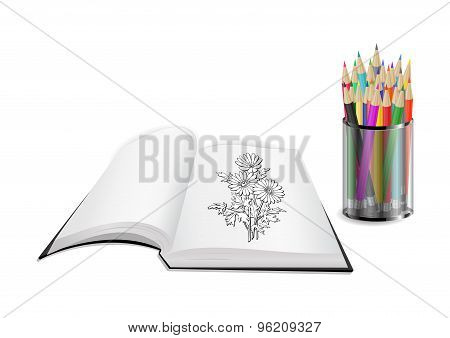 Open Book With Flowers And Color Pencils