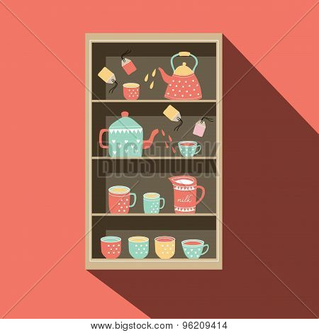 Shelf With Tea Pot And Tea Cup Illustration