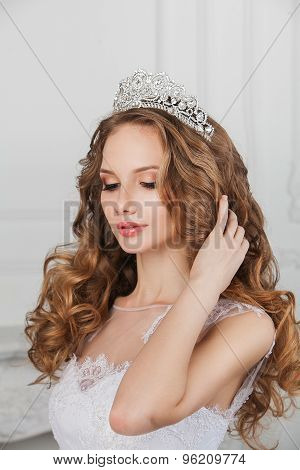 Portrait of young gorgeous bride posing