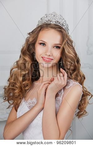 beautiful happy bride on white background