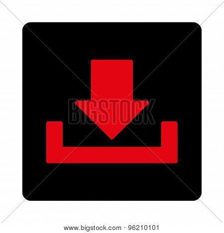 Download flat intensive red and black colors rounded button