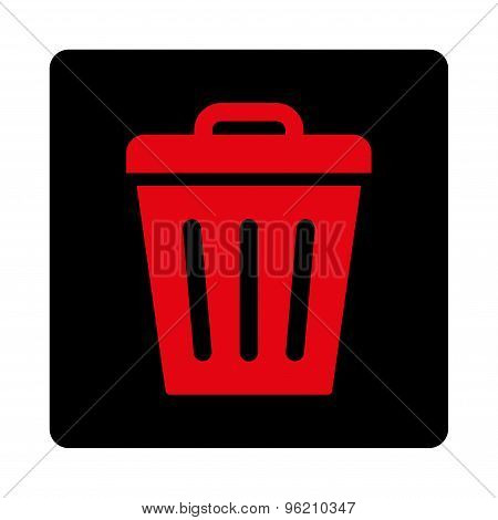 Trash Can flat intensive red and black colors rounded button